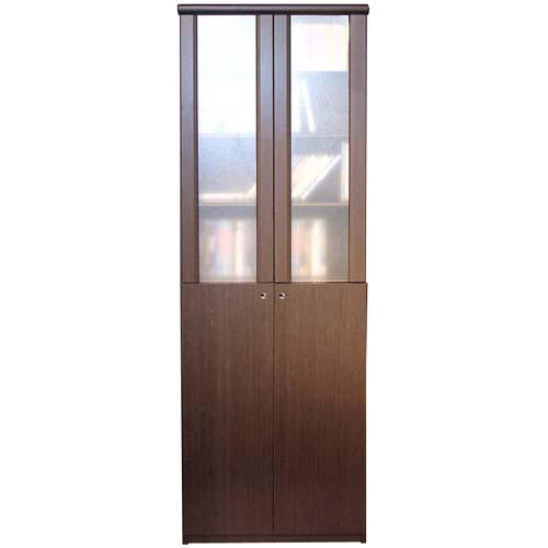すりガラス扉風壁面本棚 高さ178cm幅71~80cm奥行31cm厚棚板(耐荷重30Kg) 上下共両開き ベッドルーム横長ラック