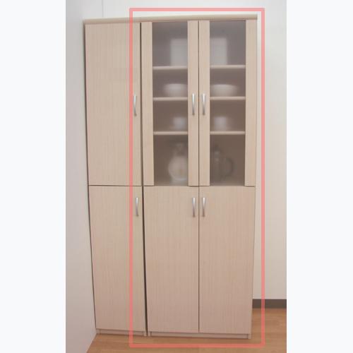 半透明扉キッチン食器棚 高さ178cm幅81~90cm奥行40cm厚棚板(耐荷重30Kg) 上下共両開き リビング幅広シェルフ