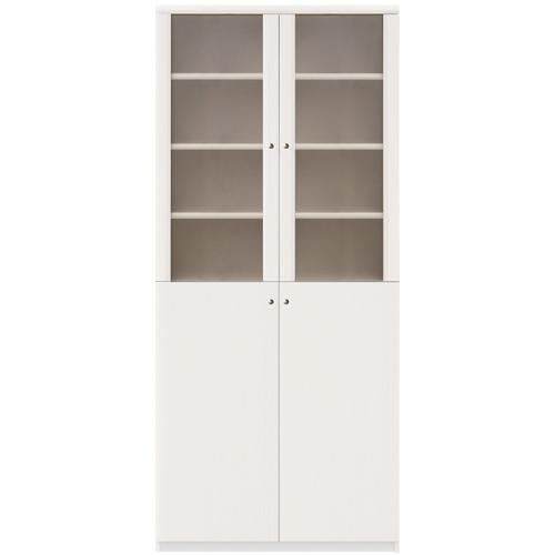 半透明扉本棚 高さ178cm幅81~90cm奥行46cm厚棚板(耐荷重30Kg) 上下共両開き 待合室幅広家具