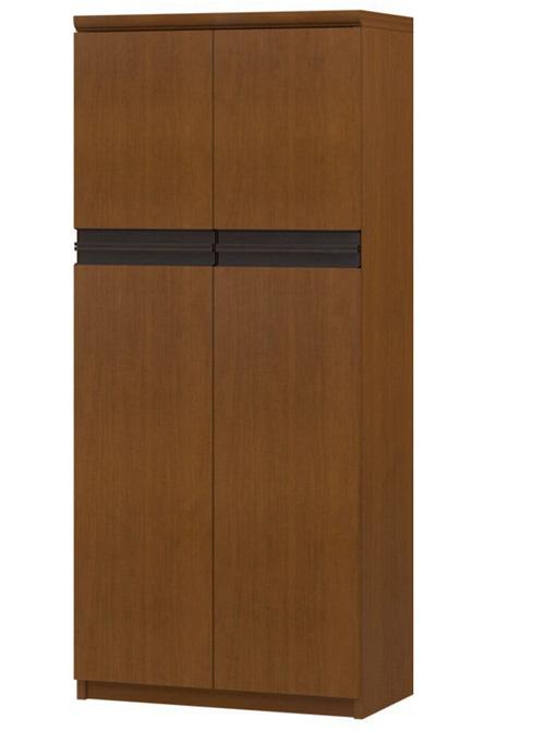 フラット扉木製扉付きチェスト 高さ135cm幅45~59cm奥行40cm 上下共両開き フラット扉付納戸家具