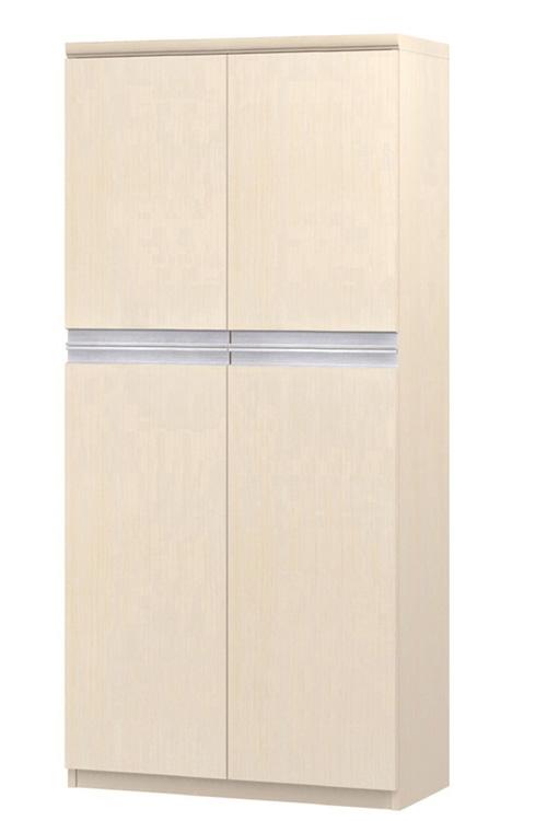 フラット扉文庫本収納 高さ149.9cm幅60~70cm奥行19cm 上下共両開き フラット扉付待合室ラック