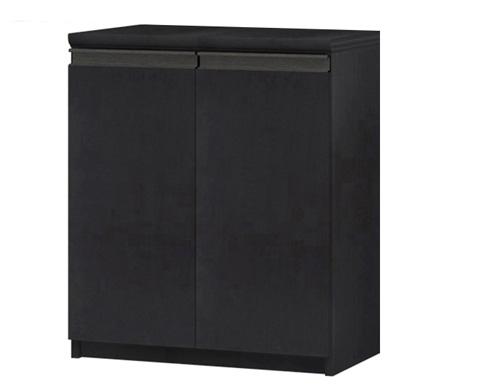 フラット扉カウンター下収納 高さ70cm幅45~59cm奥行19cm厚棚板(棚板厚み2.5cm) 両開き フラット扉付デスク周りラック