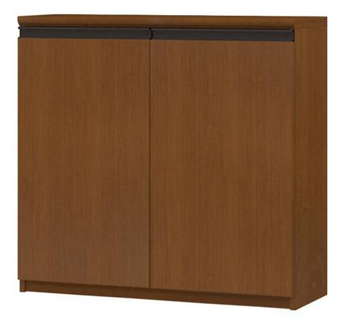 フラット扉オーダー本棚 高さ88.1cm幅81~90cm奥行19cm厚棚板(棚板厚み2.5cm) 両開き フラット扉付図書コーナー家具