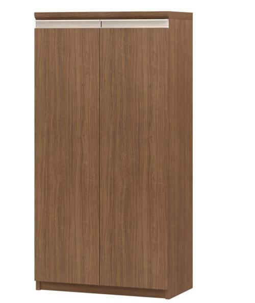 フラット扉オーダー本棚 高さ117cm幅45~59cm奥行19cm厚棚板(棚板厚み2.5cm) 両開き フラット扉付ロビーシェルフ