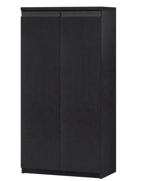 フラット扉キッチン棚 高さ117cm幅45~59cm奥行31cm厚棚板(棚板厚み2.5cm) 両開き フラット扉付デスク周りラック