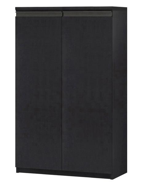 フラット扉壁面本棚 高さ117cm幅60~70cm奥行31cm厚棚板(棚板厚み2.5cm) 両開き フラット扉付廊下ディスプレイ