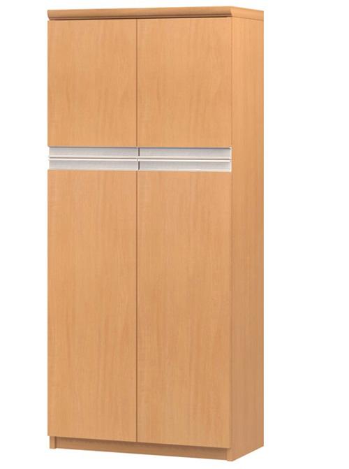 フラット扉オーダー書棚 高さ135cm幅45~59cm奥行19cm厚棚板(棚板厚み2.5cm) 上下共両開き フラット扉付台所シェルフ