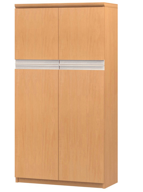 フラット扉オーダー書棚 高さ135cm幅60~70cm奥行19cm厚棚板(棚板厚み2.5cm) 上下共両開き フラット扉付集会所ボード