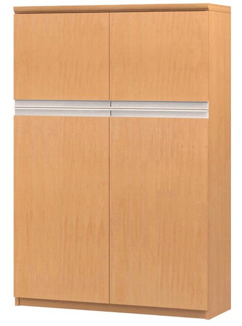 フラット扉オーダー書棚 高さ135cm幅81~90cm奥行19cm厚棚板(棚板厚み2.5cm) 上下共両開き フラット扉付寝室ラック