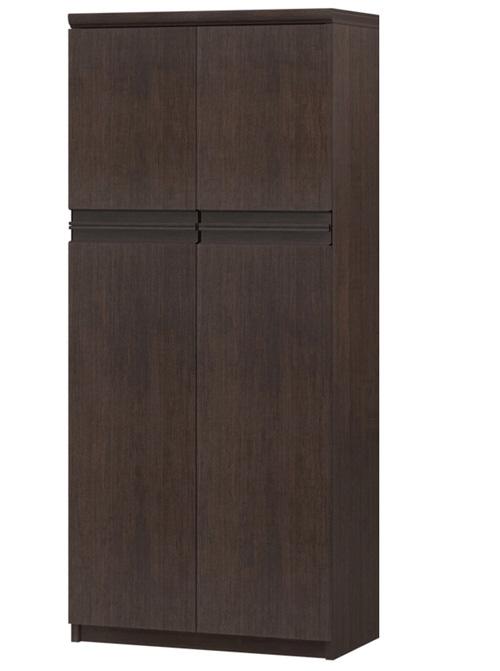 フラット扉キッチン棚 高さ135cm幅45~59cm奥行31cm厚棚板(棚板厚み2.5cm) 上下共両開き フラット扉付図書コーナー本棚
