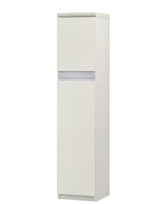 フラット扉全面扉付きすき間チェスト 高さ135cm幅25~29cm奥行40cm厚棚板(棚板厚み2.5cm) 上下共片開き(左開き/右開き) フラット扉付洗面所収納