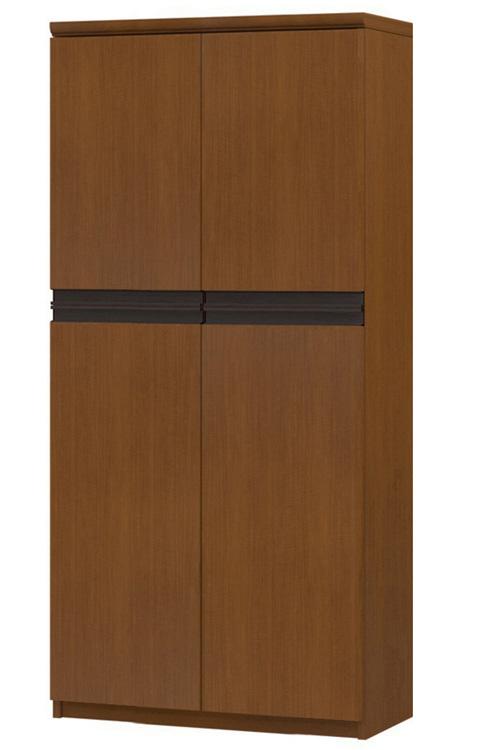 フラット扉壁面本棚 高さ149.9cm幅60~70cm奥行31cm厚棚板(棚板厚み2.5cm) 上下共両開き フラット扉付ダイニングシェルフ