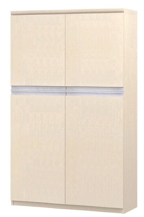 フラット扉オフィス書庫 高さ149.9cm幅81~90cm奥行46cm厚棚板(棚板厚み2.5cm) 上下共両開き フラット扉付ロビーシェルフ