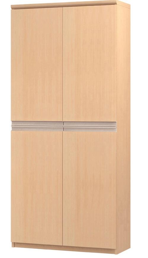 フラット扉オーダー書庫 高さ178cm幅71~80cm奥行19cm厚棚板(棚板厚み2.5cm) 上下共両開き フラット扉付図書室棚