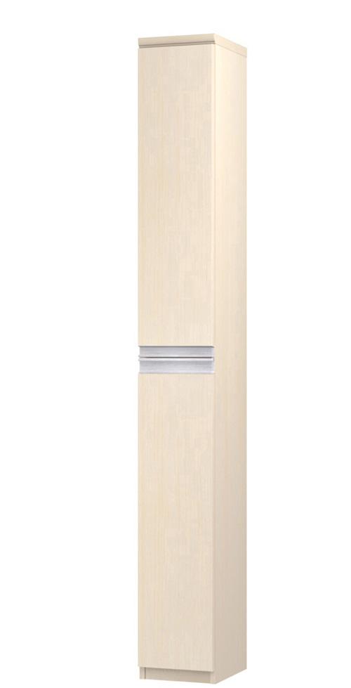フラット扉薄型すき間収納 高さ211.1cm幅15~24cm奥行19cm厚棚板(棚板厚み2.5cm) 上下共片開き(左開き/右開き) フラット扉付学校ボード