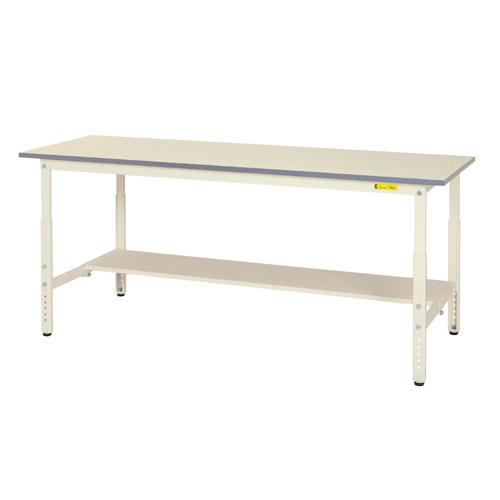作業テーブル 作業台 高さ調整式H600~H900mm中棚無し・下棚半面付 均等耐荷重150kgワークテーブル 幅1800mm×奥600mm×高600~900mm