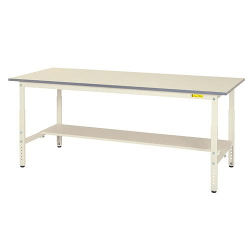 作業用テーブル 作業台 高さ調整式H600~H900mm中棚無し・下棚半面付 均等耐荷重150kgワークテーブル 幅1800mm×奥900mm×高600~900mm