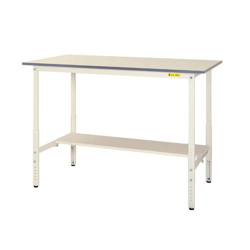 軽量ワークテーブル 高さ調整式H900~H1200mm中棚無し・下棚半面付 均等耐荷重150kg作業台 幅1500mm×奥450mm×高900~1200mm