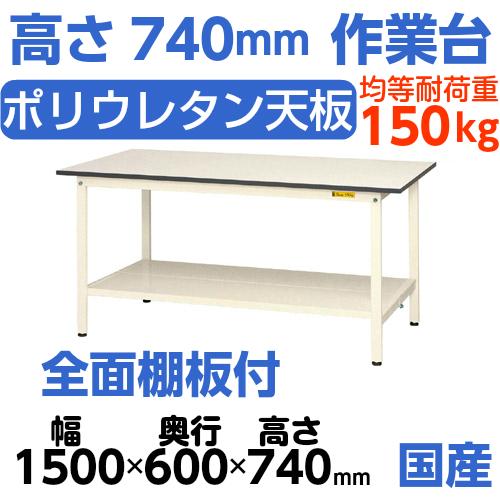 加工台 作業台 高さ固定式 H740mm中棚無し・下棚全面付 均等耐荷重150kgワークテーブル 幅1500mm×奥600mm×高740mm