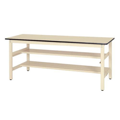 軽量ワークテーブル 固定式 半面棚板2段付 H740mm塩ビシート天板 22mm 均等耐荷重300kg作業台 幅1800mm×奥600mm×高740mm