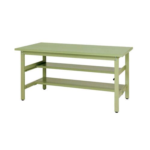 工場テーブル 作業台 固定式 半面棚板2段付 H740mmスチール天板 26mm 均等耐荷重300kgワークテーブル 幅1500mm×奥900mm×高740mm
