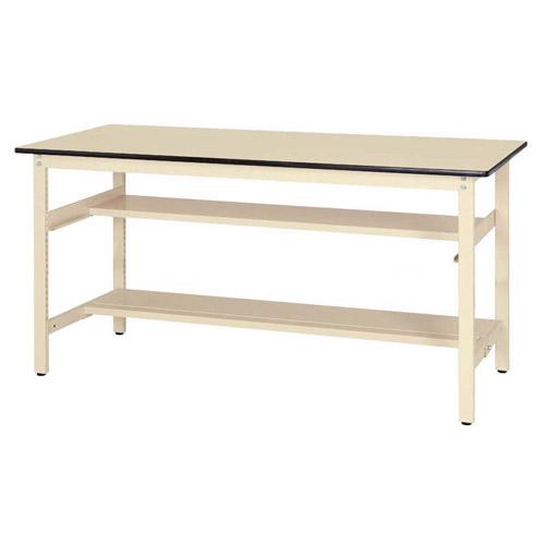 工場用テーブル 作業台 固定式 半面棚板2段付 H900mm塩ビシート天板 22mm 均等耐荷重300kgワークテーブル 幅1800mm×奥900mm×高900mm