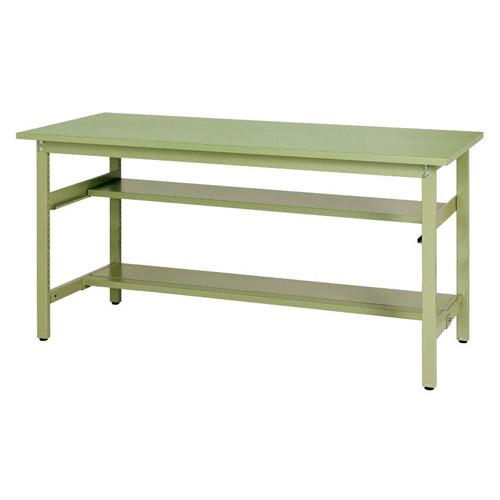 加工ワークテーブル 固定式 半面棚板2段付 H900mmスチール天板 26mm 均等耐荷重300kg作業台 幅1800mm×奥600mm×高900mm