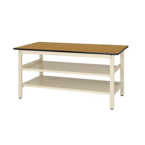 工場テーブル 作業台 固定式 全面棚板2段付 H740mmポリエステル天板 21mm 均等耐荷重300kgワークテーブル 幅1500mm×奥900mm×高740mm