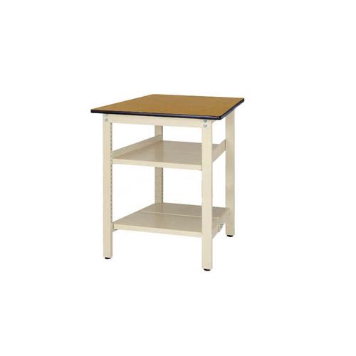 業務用テーブル ワークテーブル 固定式 全面棚板2段付 H900mmポリエステル天板 21mm 均等耐荷重300kg作業台 幅750mm×奥750mm×高900mm
