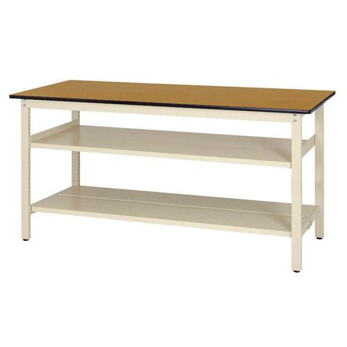 作業用テーブル ワークテーブル 固定式 全面棚板2段付 H900mmポリエステル天板 21mm 均等耐荷重300kg作業台 幅1800mm×奥750mm×高900mm