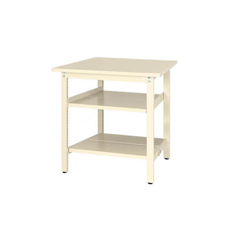 作業テーブル ワークテーブル 固定式 全面棚板2段付 H900mmスチール天板 26mm 均等耐荷重300kg作業台 幅900mm×奥750mm×高900mm