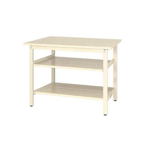 工場用テーブル ワークテーブル 固定式 全面棚板2段付 H900mmスチール天板 26mm 均等耐荷重300kg作業台 幅1200mm×奥600mm×高900mm
