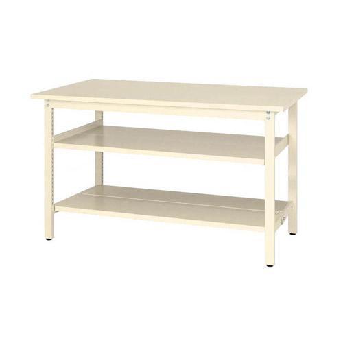 工場テーブル ワークテーブル 固定式 全面棚板2段付 H900mmスチール天板 26mm 均等耐荷重300kg作業台 幅1500mm×奥750mm×高900mm