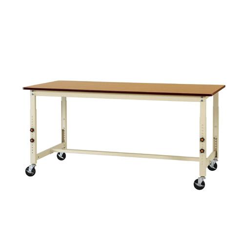 加工 ワークテーブル キャスター付 高さ調整式ポリエステル天板 21mm 均等耐荷重160kg作業台 幅1800mm×奥900mm×高750~1000mm