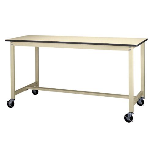 作業用テーブル 作業台 キャスター付 高さ固定式 H900mm塩ビシート天板 22mm 均等耐荷重160kgワークテーブル 幅1800mm×奥600mm×高900mm