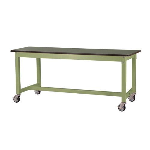 重量 ワークテーブル キャスター付 高さ固定式 H740mm塩ビシート天板 22mm 均等耐荷重320kg作業台 幅1800mm×奥600mm×高740mm