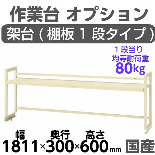 作業テーブル 作業台 架台 架台棚板1段 均等耐荷重80kgワークテーブル架台 幅1811mm×奥300mm×高600mm
