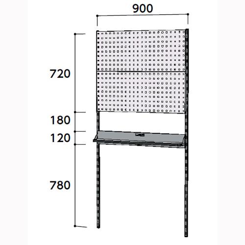 工場用 壁面ハンガーラック 壁面ハンガーパネル W900mm単体 支柱2本壁面ハンガーパネル 幅900mm×奥mm×高1807mm