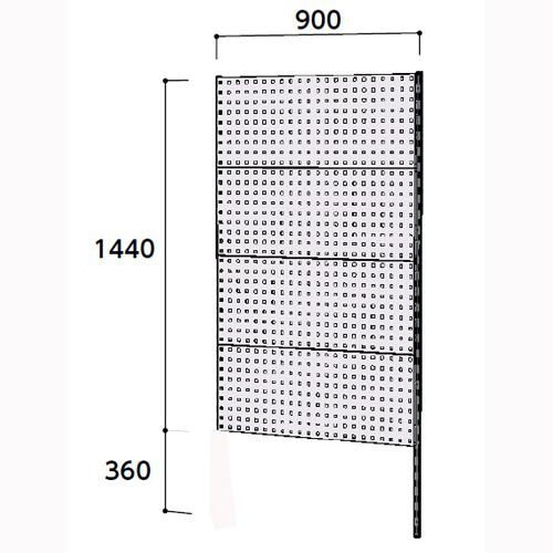 業務用 壁面ハンガーラック 壁面ハンガーパネル W900mm連結 支柱1本壁面ハンガーパネル 幅900mm×奥mm×高1800mm