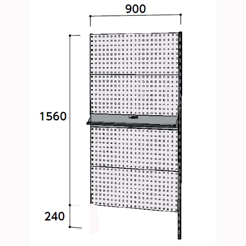 工場 壁面ハンガーラック 壁面ハンガーパネル W900mm連結 支柱1本壁面ハンガーパネル 幅900mm×奥mm×高1800mm