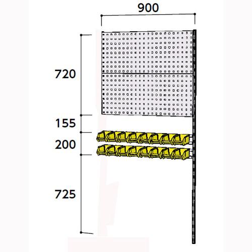 業務用壁面ハンガーラック 壁面ハンガーパネル W900mm連結 支柱1本壁面ハンガーパネル 幅900mm×奥mm×高1807mm