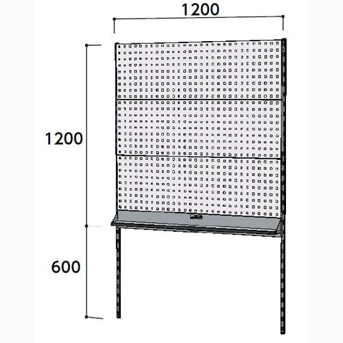 工場用壁面ハンガーパネル 壁面ハンガーパネル W1200mm単体 支柱2本壁面ハンガーラック 幅1200mm×奥mm×高1807mm