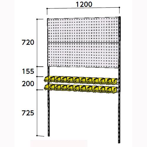 工場 壁面ハンガーパネル 壁面ハンガーパネル W1200mm単体 支柱2本壁面ハンガーラック 幅1200mm×奥mm×高1807mm
