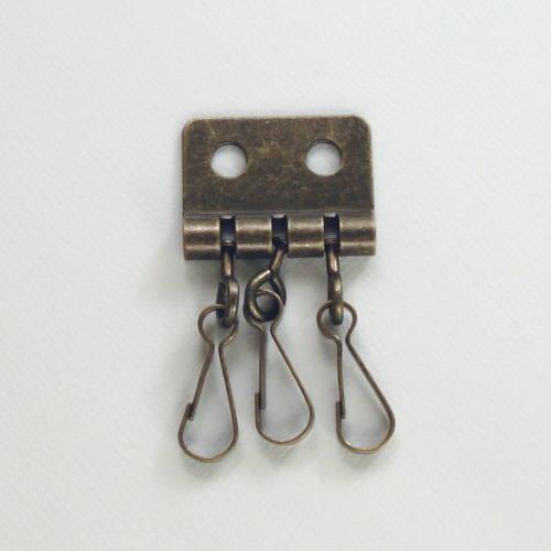 手作りの手芸アイテムに キーホルダー金具 三連フック アンティックゴールド 10個入り 特売 並 爆買い新作