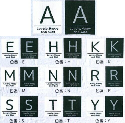 【メール便OK】全10種 イニシャル タグネーム アルファベット 織ネーム ネームタグ、A.E.H.K.M.N.R.S.T.Y