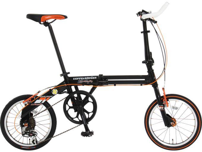 DOPPELGANGER 折り畳み自転車 111 Roadfly(メーカー直送品)DOPPELGANGER 111 Roadfly [カーボンブラック/フラッシュオレンジ]