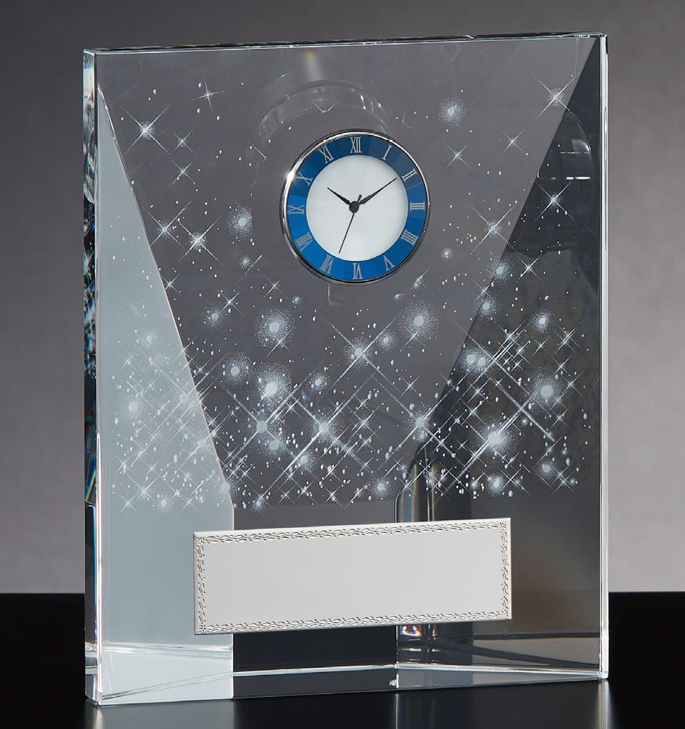 【文字彫刻無料】クリスタル(G4808A)高さ:15.5cm/時計付き