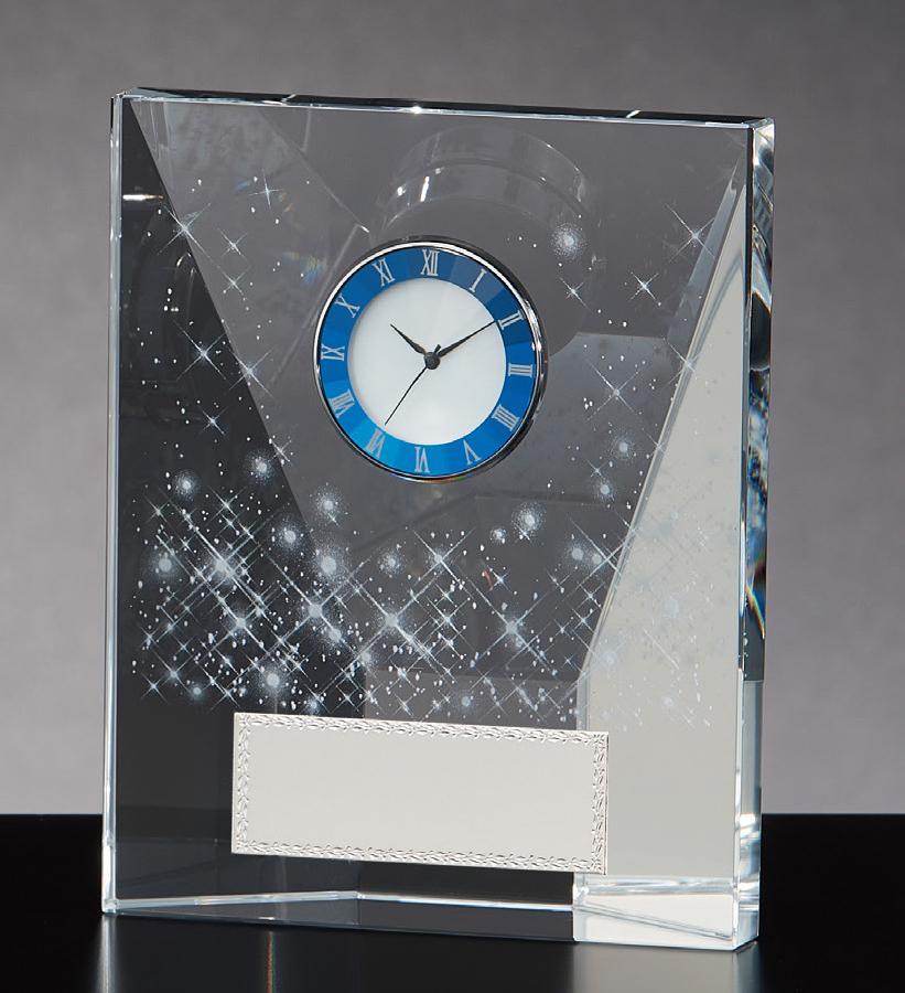 【文字彫刻無料】クリスタル(G4808B)高さ:12.5cm/時計付き