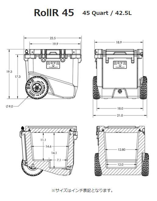 (ROVR)ローバー RollR 45 w/ Wagon Bin (POWDER) | クーラーボックス キャスター 大型 クーラー クーラーバッグ 保冷 キャスター付き キャリー カート キャンプ アウトドア バーベキュー 登山 イベント フェス 海水浴 アウトドアグッズ おしゃれ