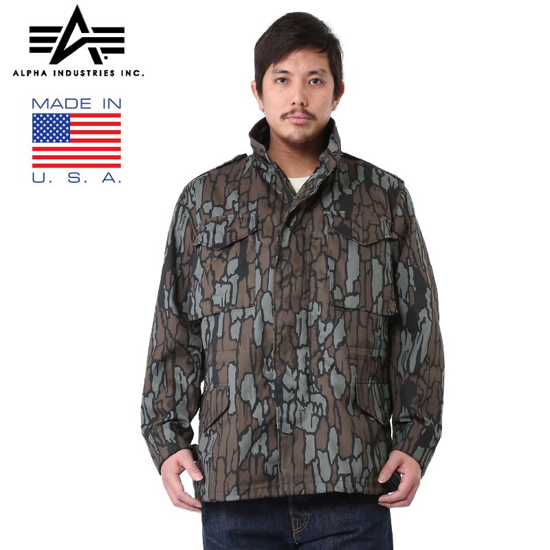 【店内15%OFFセール開催中】ALPHA アルファ MADE IN U.S.A 米軍M-65フィールドジャケット TREBARK MADE IN U.S.A使用の デッドストック 生地にTREBARKの迷彩を使用した珍しいM-65《WIP03》20